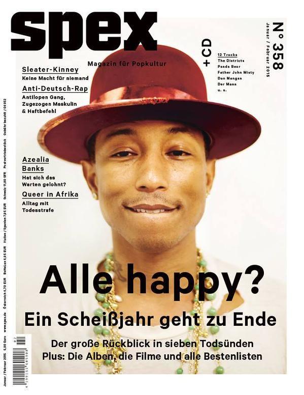 """Spex: """"Alle happy?"""", fragt die Redaktion der Spex. Wohl kaum. Nach ihrer Meinung geht """"ein Scheißjahr zu Ende"""". Die dazugehörige Titelseite ist jedoch alles andere als scheiße."""