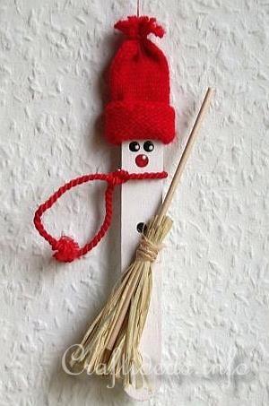 Christmas Craft Idea for Kids - Craft Stick Winter Snowman