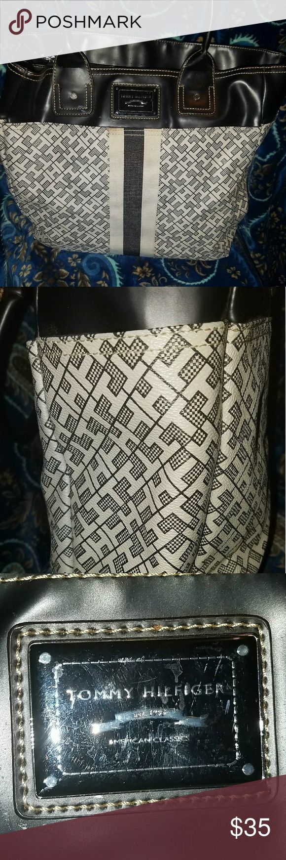 Large Tommy Hilfiger Tote Bag in Blue Tommy Hilfiger Tote Bag. Very Large over a foot Tall & Wide. In Perfect Condition. Its Dark Blue & White with Leather Trim. Please Message Me With Any Questions You May Have. THANKS Tommy Hilfiger Bags Totes