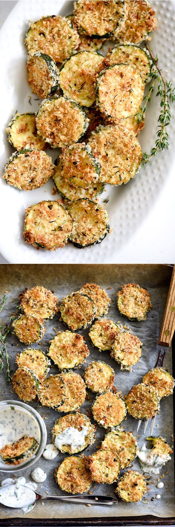 Like the fried zucchini you'll find at old school burger shacks, I serve these babies with homemade ranch dressing for dipping. Eat them with or without, either way you'll never miss that these aren't fried. | http://foodiecrush.com