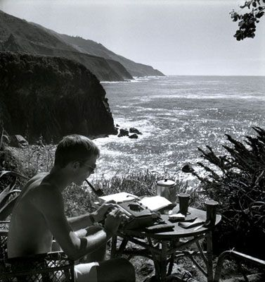 Self Portrait, Typing, Big Sur, 1961 | HUNTER S. THOMPSON  SELF PORTRAIT, TYPING, BIG SUR, 1961