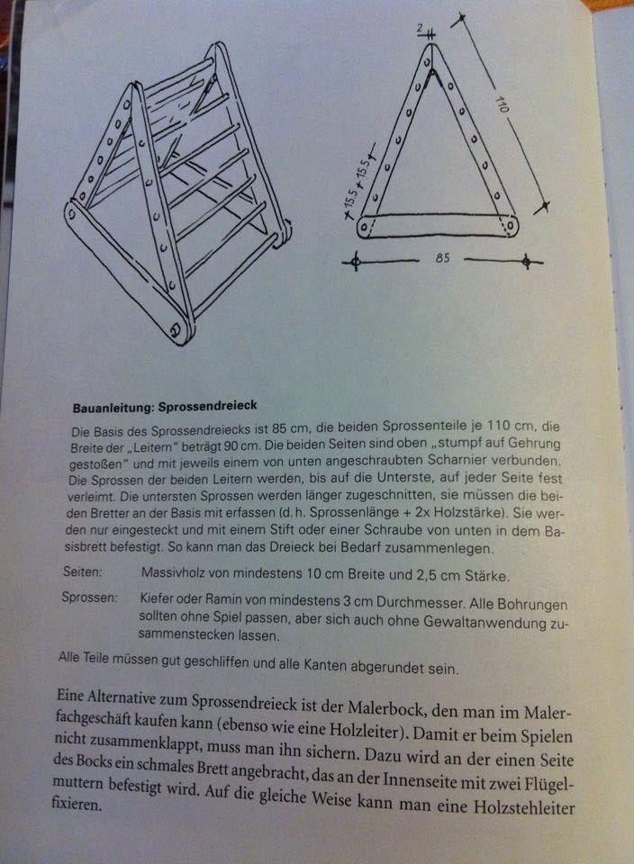 Bauanleitung Pikler Sprossendreieck
