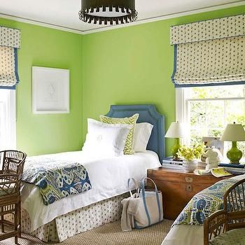Apple Green Paint, Cottage, girl's room, Benjamin Moore Stem Green, House Beautiful