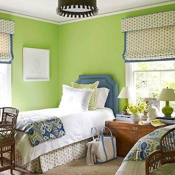 Apple Green Paint, Cottage, girl's room, Benjamin Moore Stem Green, House Beautiful