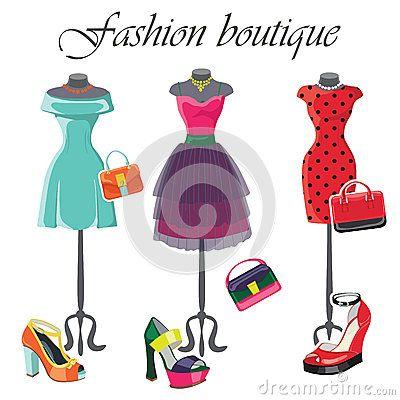 Sistema de tres vestidos coloreados con los accesorios
