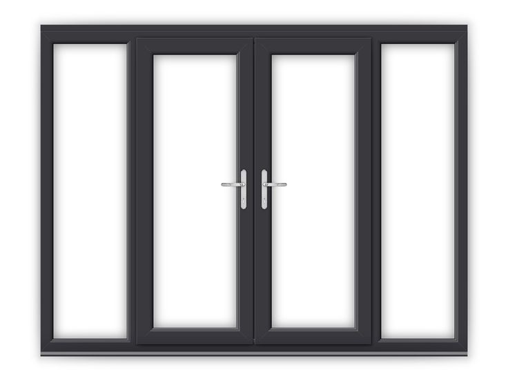 Used Upvc French Doors Sale Part - 18: 5ft Anthracite Grey UPVC French Doors With Wide Side Panels