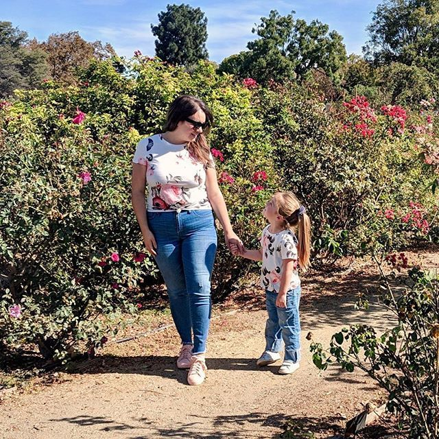 A Walk In The Rose Garden With My Little Rose While Wearing Roses But Can We Talk About How Flipping Hot It Was In S Little Rose How To Wear Rose