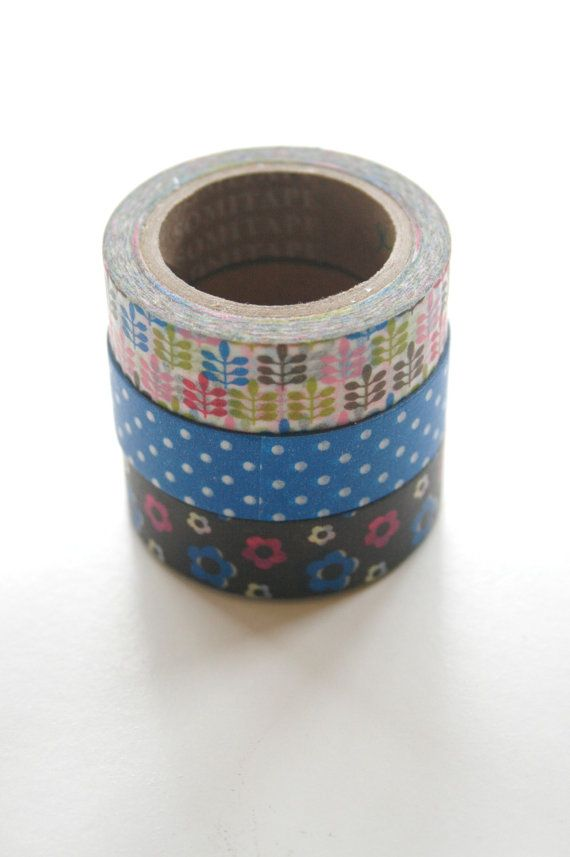 Washi Tape Set  15mm  Combination EZ  Florals and by InTheClear
