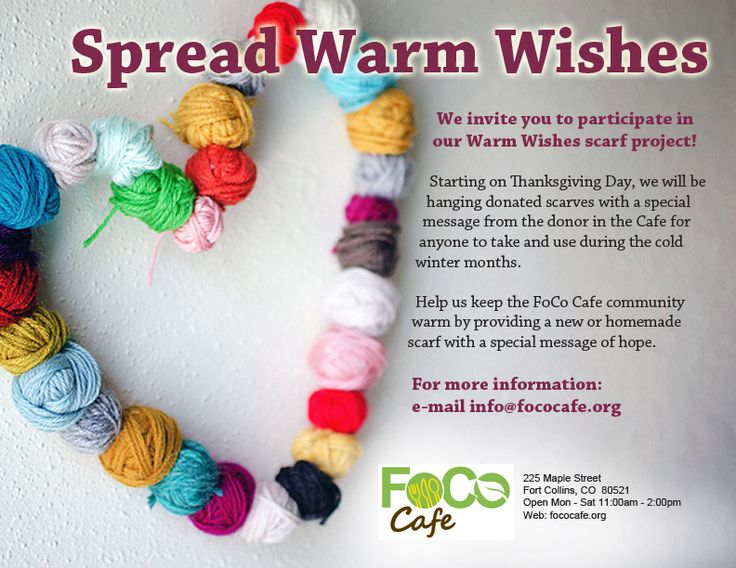Keep our community warm this winter. Make a scarf and then make it available to another!