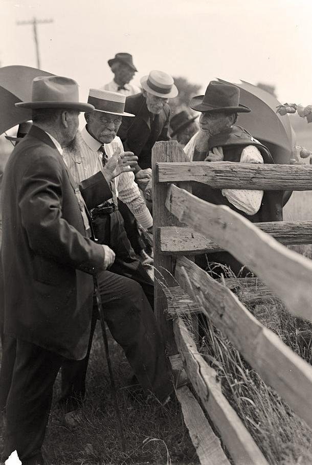 Here we present an historic photo of Civil War Veterans; Gettysburg Reunion: G.A.R. & U.C.V. It was taken in 1913 by Harris & Ewing.