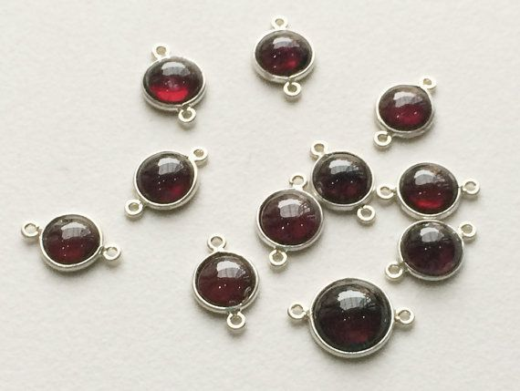 WHOLESALE 10 Pcs Garnet Connectors Garnet 925 by gemsforjewels