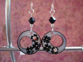 Funky black shrink plastic and lucite flower earrings