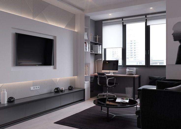 Kis lakás - modern berendezés és dekoráció a szürke árnyalataival pódiumra emelt leválasztható hálófülke - 45m2