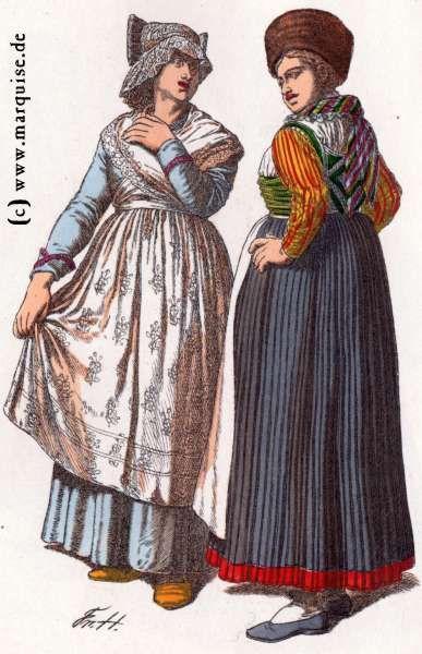 Augsburg: Bürgersfrau und Bauernmädchen, um 1820