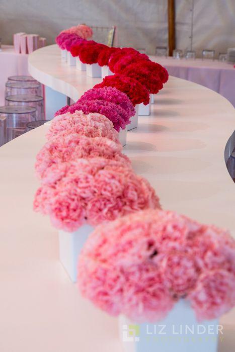 Pink flower decorations for a Bat Mitzvah.