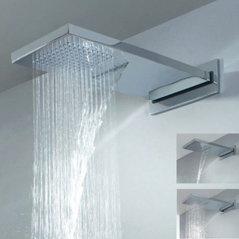 add luxury and style to your bathroom with this graceful waterfall rain shower head