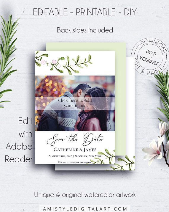 Save the Date PDF Photocard - with nice and bright watercolor mistletoe design, which fits your minimalist but stylish winter wedding themeThis save the date photo card template is an instant download EDITABLE PDF so you can download it right away, DIY edit and print it at home or at your local copy shop by Amistyle Digital Art on Etsy