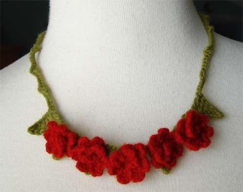 crochet red rose necklace by meekssandygirl, via Flickr