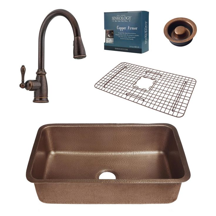 Pfister All-In-One Orwell 30 in. Undermount Copper Kitchen Sink Combo with Rustic Bronze Faucet and Disposal Drain, Antique Copper