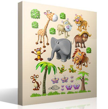 Vinilo infantil Animales de la selva africana