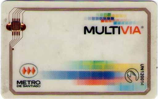 """MultiVia. Tarjeta que fue emitida por el Metro de Santiago desde el 2003. Desde el 1 de Agosto de 2011 ninguna tarjeta es utilizable, debido a """"obsolescencia tecnológica"""", siendo reemplazada por la Tarjeta Bip!"""