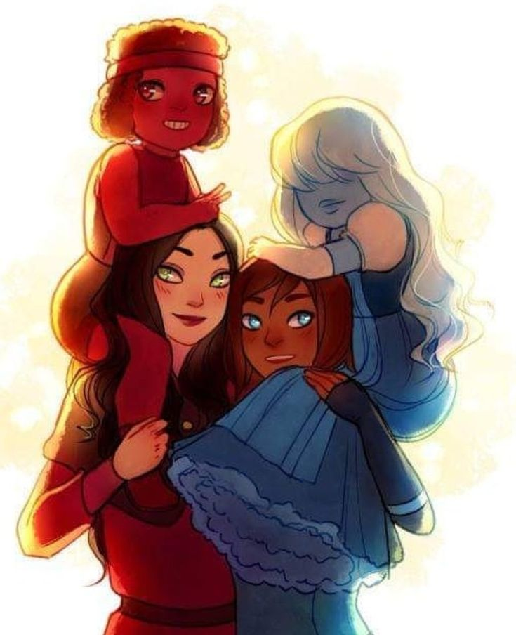 Commission made for me by the lovely Ari North! It's of Korrasami and Ruby and Sapphire. I have a thing for red and blue couples, apparently. This is the original jpeg she sent me, and I'm so glad I commissioned her. <<< My top two OTPs! Korra E Asami, Korra Avatar, Asami Sato, Team Avatar, Avatar Studios, Arte Dc Comics, Lesbian Art, Lesbian Couples, Avatar Series