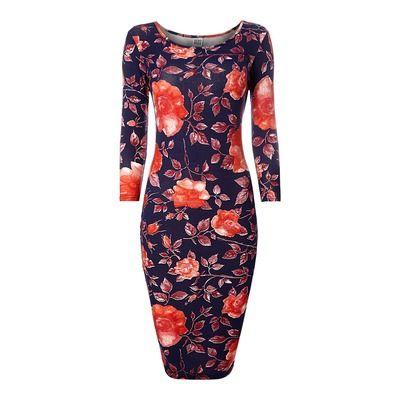 Vero Moda Long Sleeve Rose Print Bodycon Midi Dress