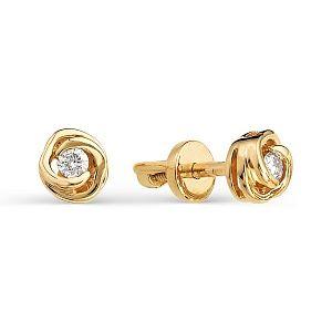 Серьги из красного золота с белыми бриллиантами (Пуссеты с бриллиантом)