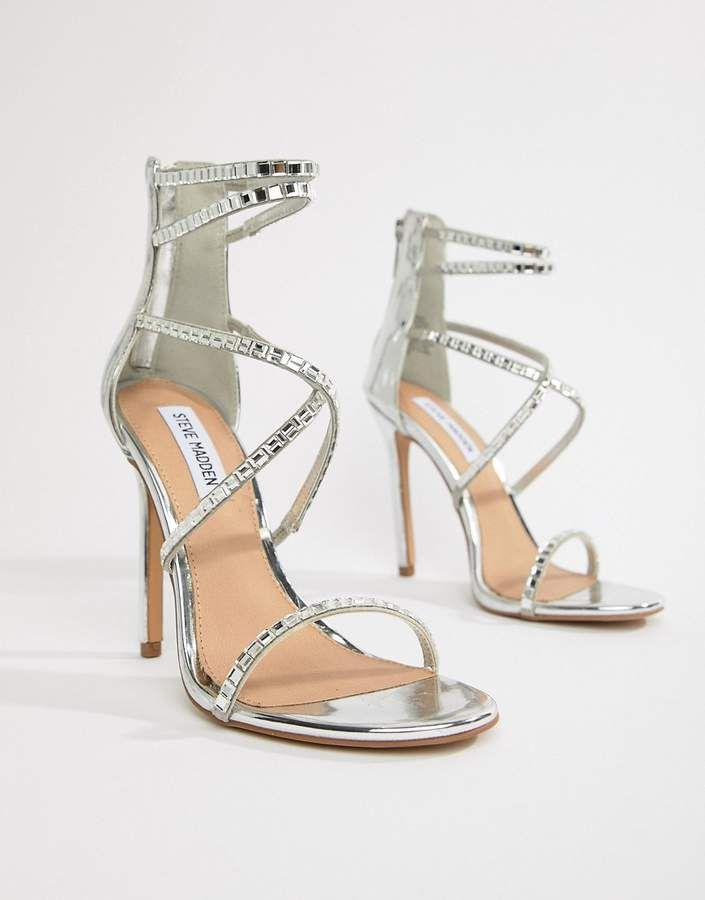 475c30994c0 Steve Madden Bringit Strappy Heeled Sandals - Silver High Heels ...