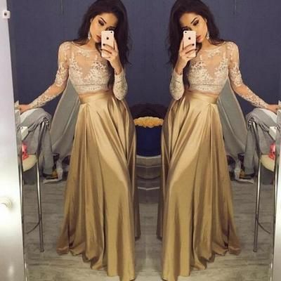 Long sleeve lace prom dresses, Long Green Prom Dresses, 2017 Prom Dresses, Long Evening Dresses,  17025
