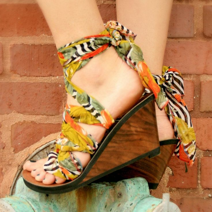 3.5 High Walnut Thong Wedge Ribbon Sandal with Recycled Saree Tie