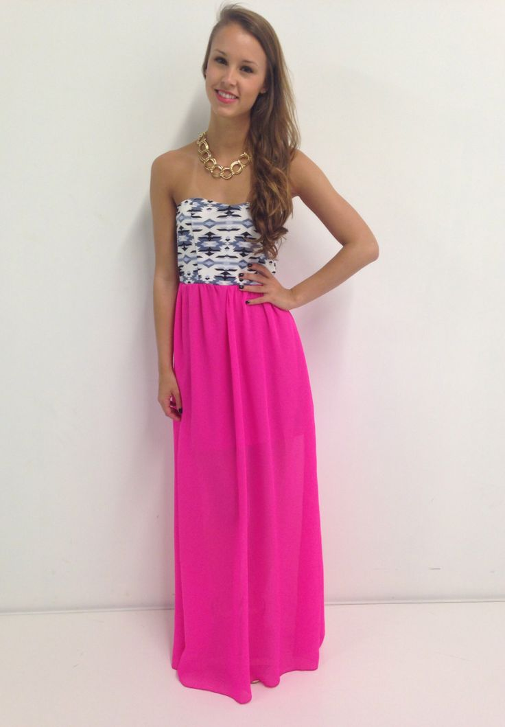 Hot pink aztec maxi dress swoonboutique dresses as a for Sexy dresses for wedding guests