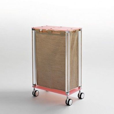 Your laundry will look great in the Complementi Linen Cart K122. Rose Quartz is subdued with the linen bag and clear middle construction.