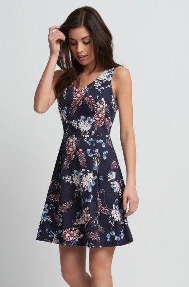 Virágmintás A-vonalú ruha