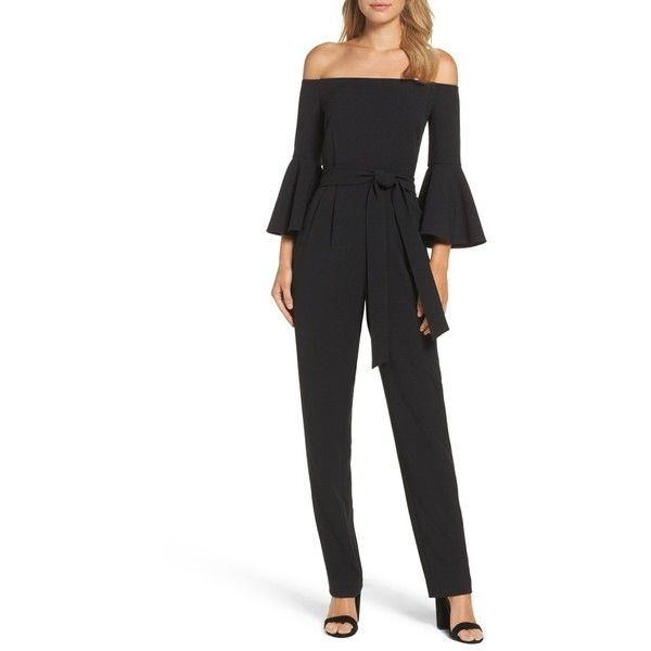 Petite Women's Eliza J Off The Shoulder Jumpsuit ($138) ❤ liked on Polyvore featuring jumpsuits, black, petite, off the shoulder jumpsuit, off shoulder jumpsuit, eliza j, bell sleeve jumpsuit and tailored jumpsuit