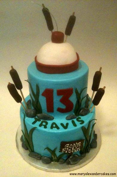 Welcome to Mary Alexander's Cakes. Fishing theme cake.