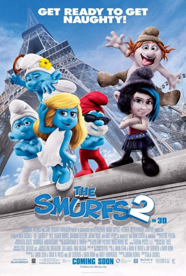 The Smurfs 2 (2013) Animatie, In dit vervolg creëert de boze tovenaar Gargamel een paar ondeugende Smurf-achtige wezens, waarmee hij de magische krachten van de Smurfen hoopt te kunnen benutten. Maar als hij er achter komt dat alleen een echte Smurf hem kan geven wat hij wil en alleen een geheime spreuk die Smurfin weet de wezens kan veranderen in echte smurfen, kidnapt Gargamel Smurfin. Hij brengt haar naar Parijs waar hij door miljoenen wordt aanbeden als 's werelds grootste tovenaar.