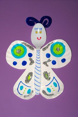 Paper plate and plastic spoon butterflies! I think we'll do it this week since we have our own to look at!
