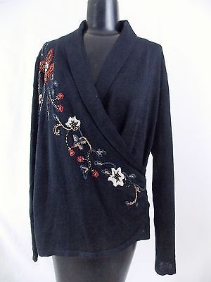 Coldwater Creek Embroidered Embellished Black Floral V-Neck Wrap Sweater Sz M