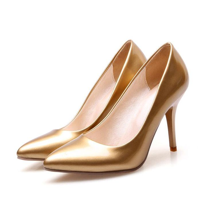 New 2015 Elegant Women Pumps Fashion Pointed Toe Pu Leather Female Office Party Shoes Ladies High Heels Bridal Wedding Shoes Gold Silver Cream Bridesmaid Shoes Cute Wedding Shoes From Jane012, $29.85| Dhgate.Com