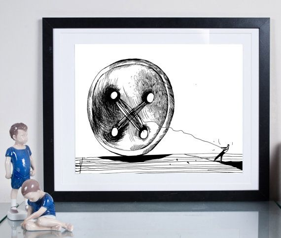 button ... Illustration art giclée print signed byTomek Wawer , #black #drawing