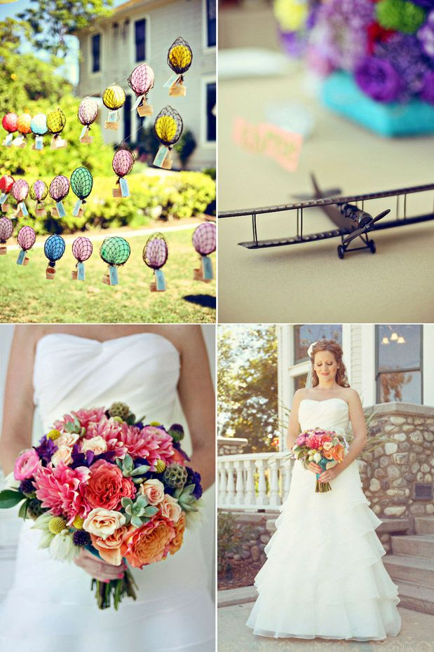 Hot air balloon placecards!Colors Bridal, Colors Flower, Bridal Bouquets, Balloons Favors, Bright Bouquets, Hot Air Balloons, Bright Colors, Balloons Escort, Colors Bouquets