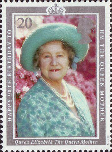 90th Birthday of Queen Elizabeth the Queen Mother 20p Stamp (1990) Queen Elizabeth the Queen Mother