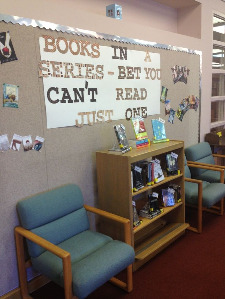 "High School Library Display Ideas | Books in a Series"" high school library display."