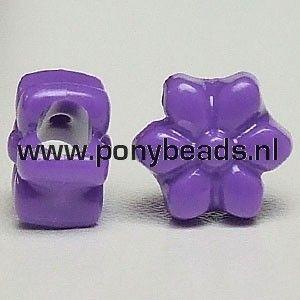Haarkralen bloem donker lila / Pony beads flower dark lilac
