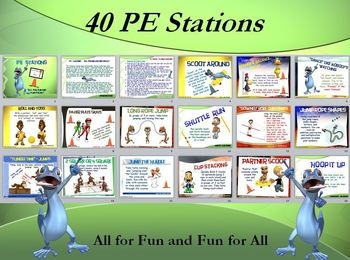 The following stations (and corresponding Station Cards) have been created as an aid for a PE Teacher, Classroom Teacher or Small Group Leader in a camp or church. The stations can be set up quickly in designated zones of a gym, field or any other playing area around your facility. These particular stations were created with the sole purpose for children to have fun performing a variety of movements and tasks using equipment you might find in a typical school, camp or church facility.
