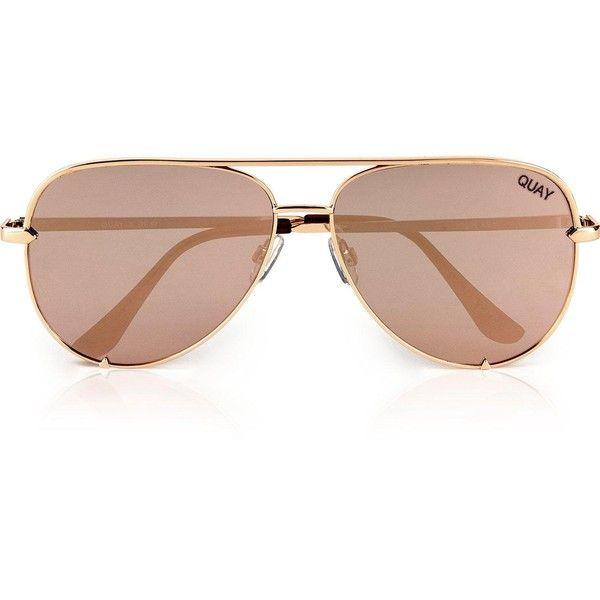 Quay Australia Quay Australia X Desi-High Key Oversized Aviator... ($58) ❤ liked on Polyvore featuring accessories, eyewear, sunglasses, gold, quay sunglasses, oversized eyewear, aviator sunglasses, gold glasses and quay eyewear