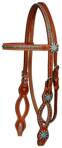 Medium Oil Horse Bridle Turquoise Bling Includes Reins    $56.95