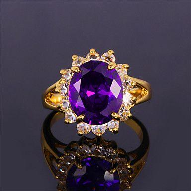 7 цветов роскошь CZ камень циркония кольцо изумруд сапфир рубин 18k коренастый позолоченные ювелирные изделия подарок для женщин – EUR € 3.99