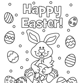 Happy Easter Eggs Coloring Page Egg Bunny Pages For Kids